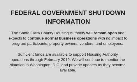 SCCHA will remain open during govt shutdown