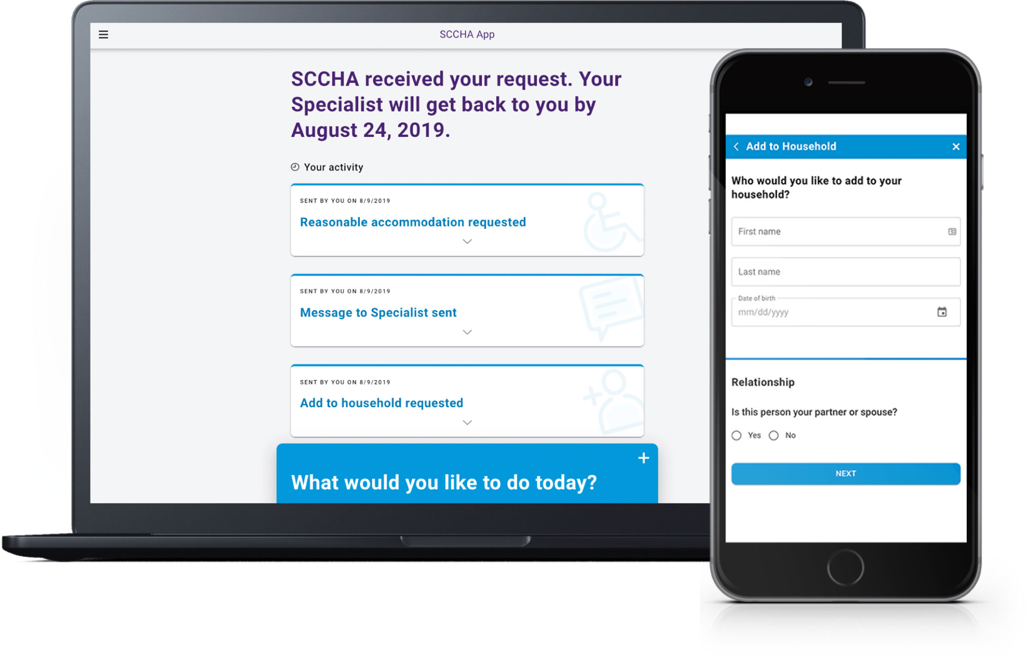 Upload documents through SCCHA Tenant Applicant Portal on desktop and mobile